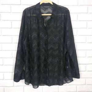 Lane Bryant Black Sheer Glitter Chevron Print L/S